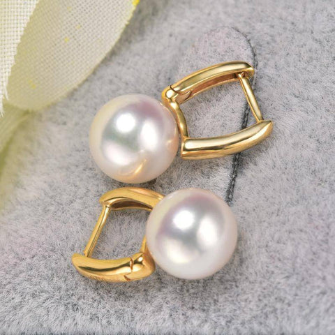 Image of Genuine, Japanese Akoya 18k Gold Pearl Earrings 18k Gold