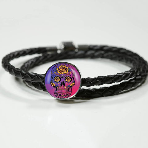 Sugar Scull Woven Leather Charm Bracelet