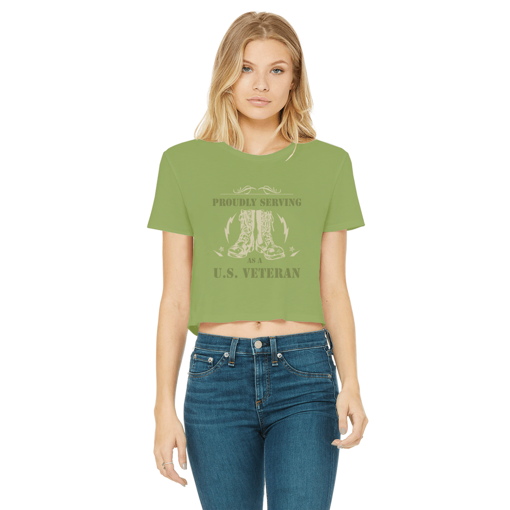 ArmyVET Classic Women's Cropped Raw Edge T-Shirt