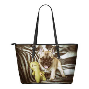 Women's French Bulldog Leather Tote