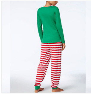 Christmas Pajamas Sets Striped Cartoon Print