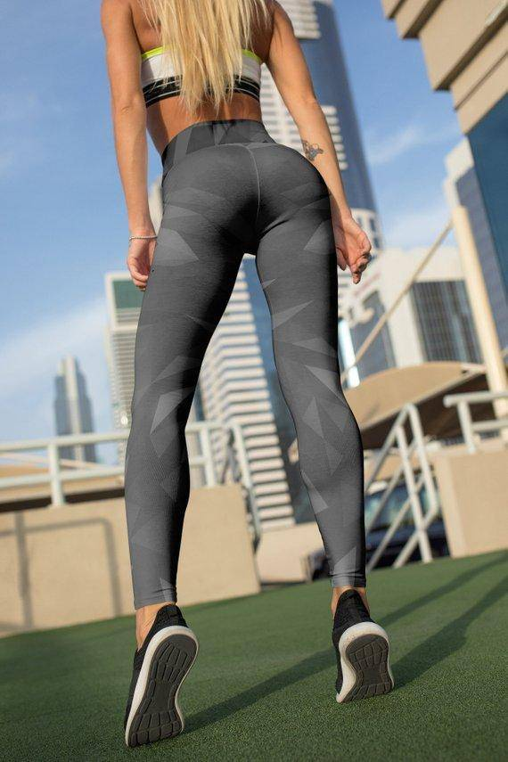 Black Geometric Leggings For Women Yoga Pants