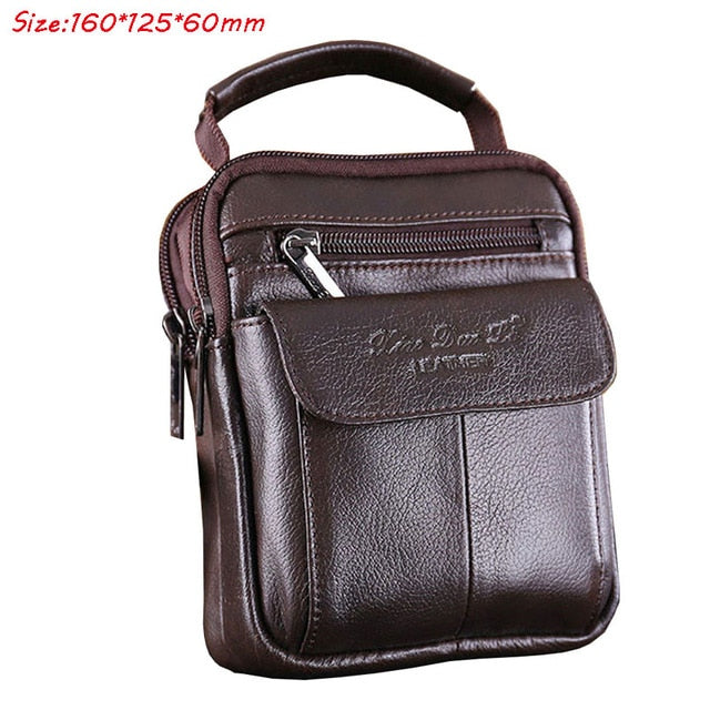 Men's Cowhide Leather Messenger Shoulder Cross Body Bag