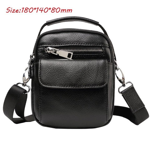 Image of Men's Cowhide Leather Messenger Shoulder Cross Body Bag