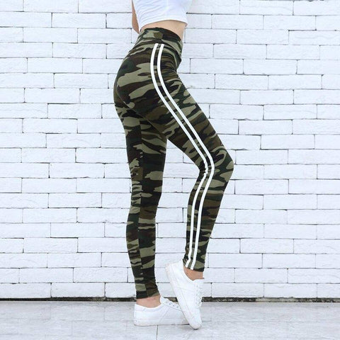 Image of Women Camo Legging Two Side White Stripes Skinny Leggings