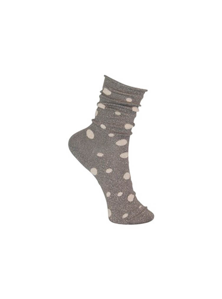 Glitter Dot Sock Grey/Gold
