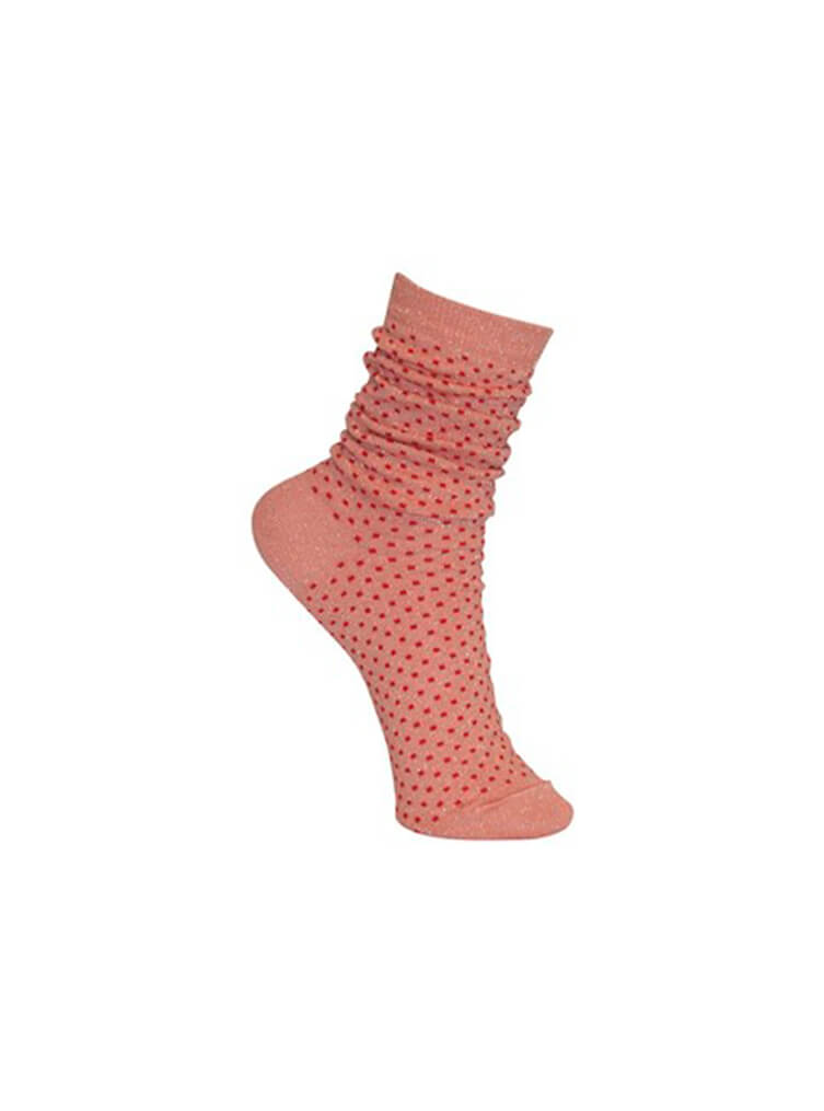 Lurex Dotted Sock Rose