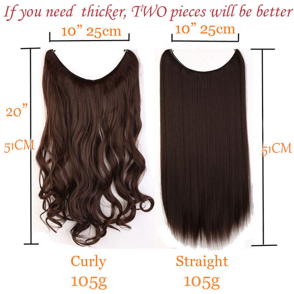 Addison 20 Inches Invisible Wire No Clips In Hair Extensions Hazel