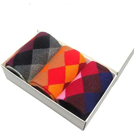 New! Men's Combed Cotton Argyle Dress Socks (3 Pair)