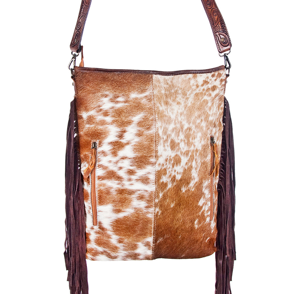 Brown Hair On Hide Messenger Leather Fringe Handbag