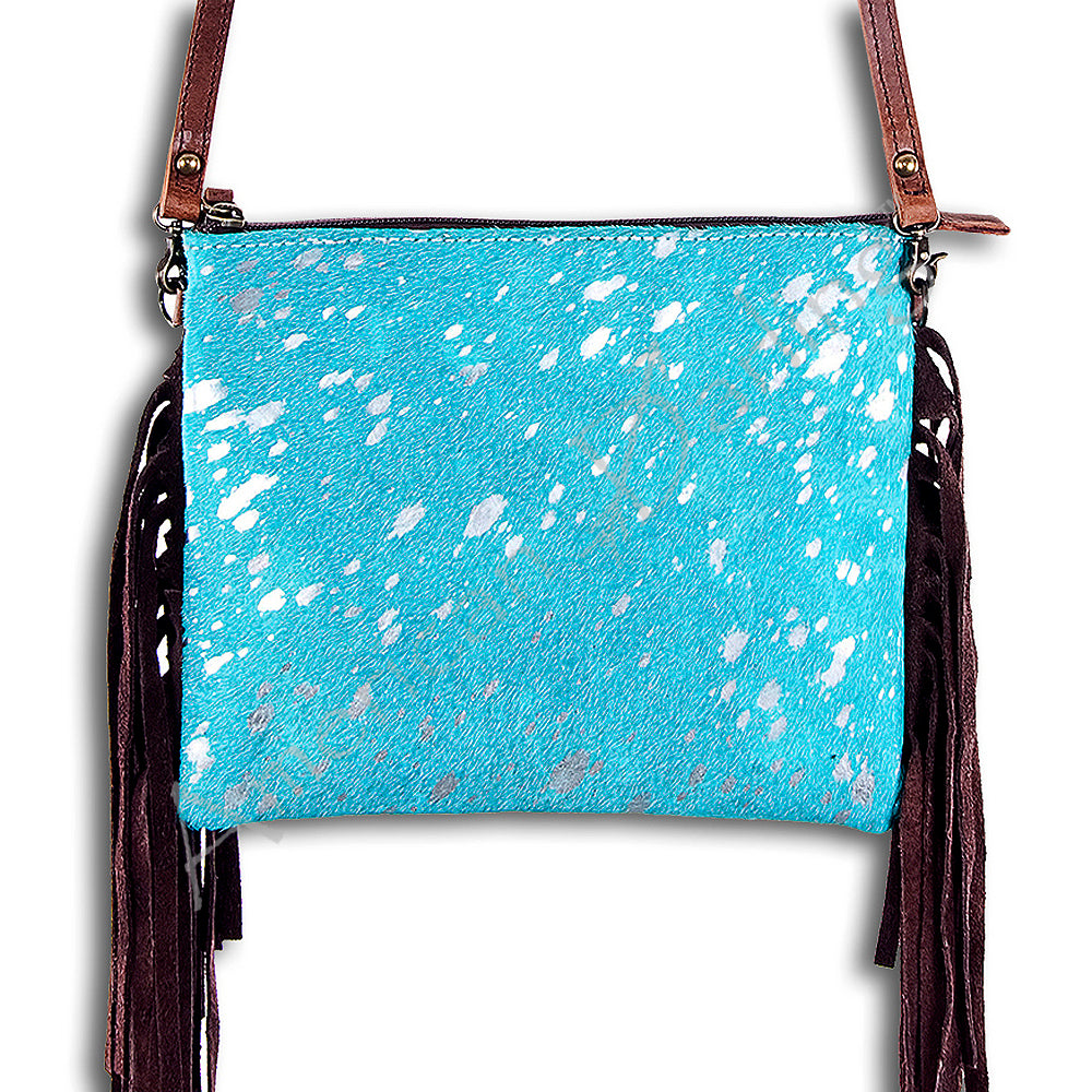 Turquoise Acid Wash Leather Fringe Clutch Shoulder Handbags