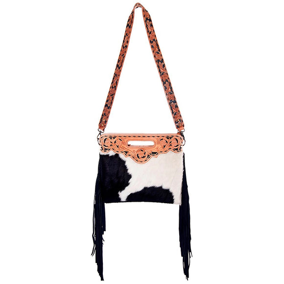 Black & White Cowhide Engraved Leather Fringe Handbag