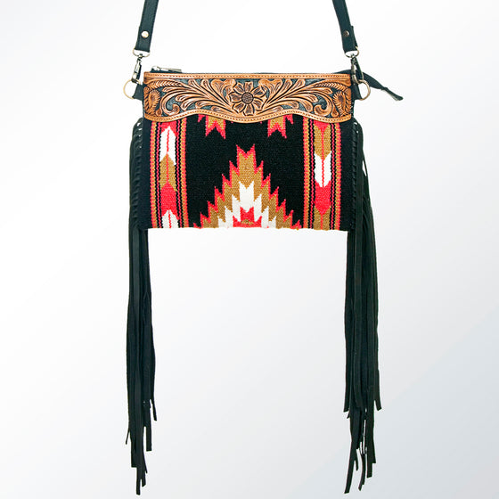 Aztec Leather Engraved Rug Crossbody Fringe Handbag