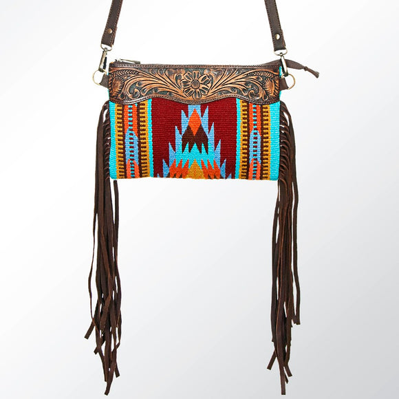 Aztec Leather Rug Crossbody Fringe Handbag
