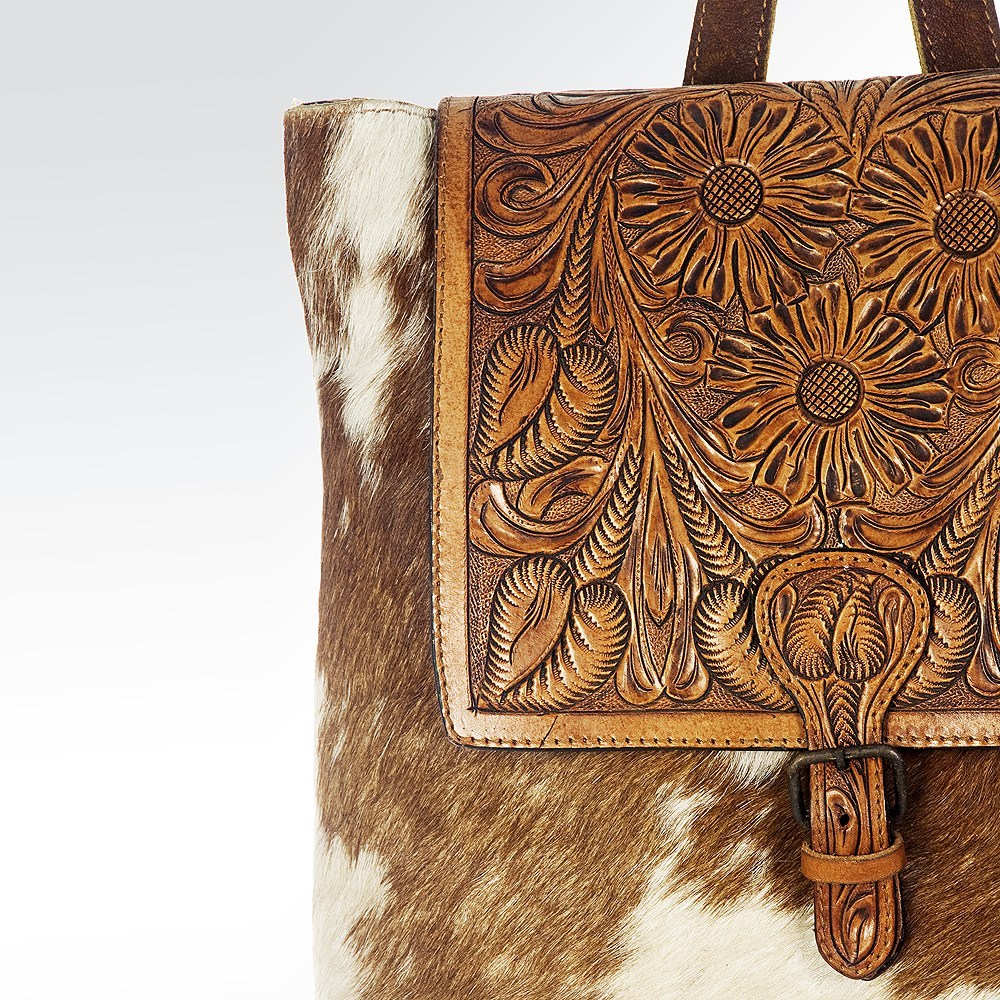 Cowhide Leather Floral Engraved Backpack Handbag