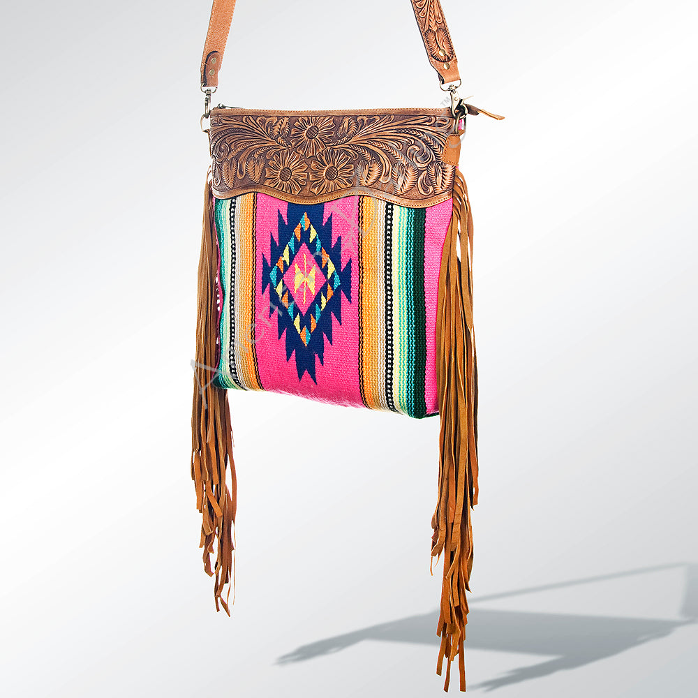 Montana Aztec Rug Fringe Leather Handbag