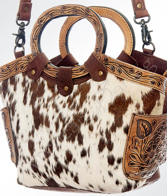 Cowhide Leather Engraved Top Western Handbag