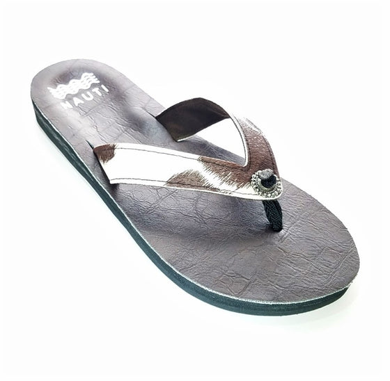Cowhide Pony Hair Ortho Flip Flop Sandals