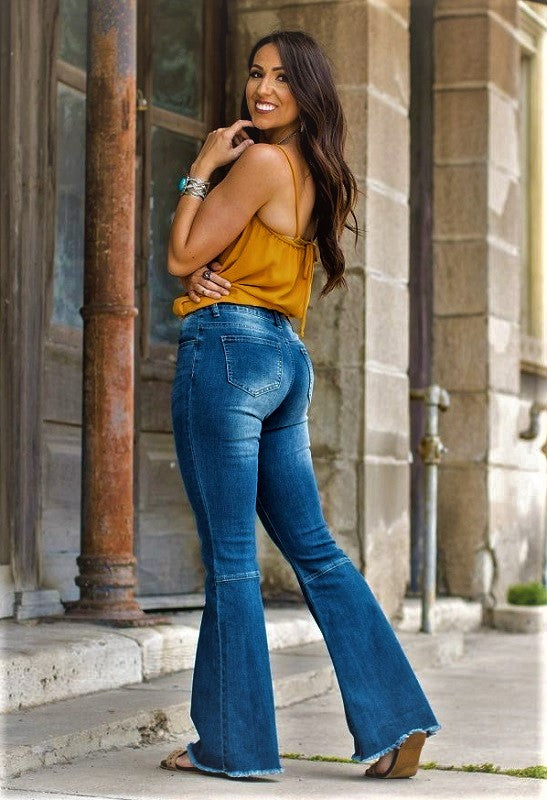 Flare Leg Mid Wash Denim Stretch Jeans