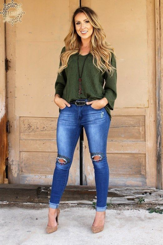 Distressed Denim Christmas Wreath Jeans Bottoms