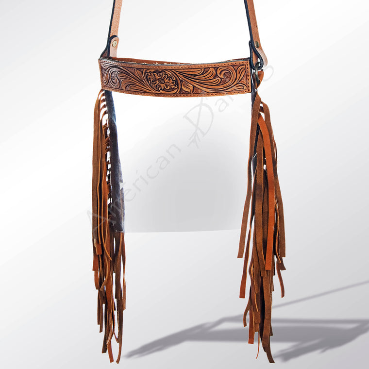 Cheyenne Clear Crossbody Fringe Leather Handbag