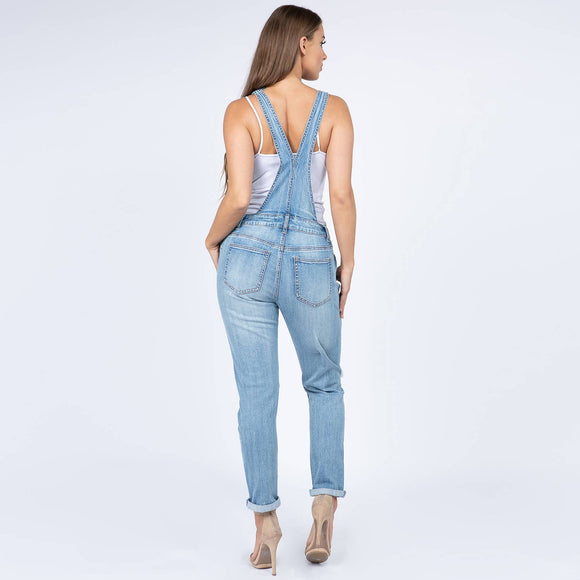 Light wash Distressed Denim Overall Bottoms Reg & Plus