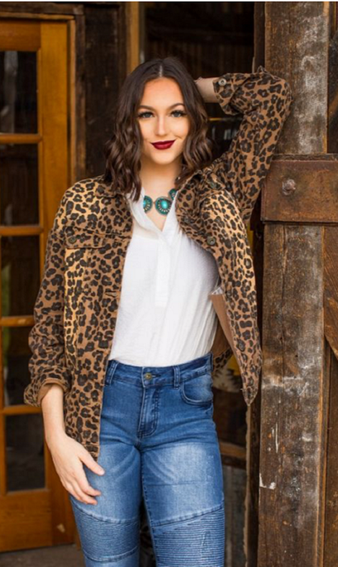 Leopard Distressed Denim Stretch Jacket