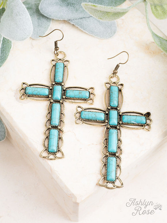 Glorious Grace Turquoise Stone Cross Earrings, Silver
