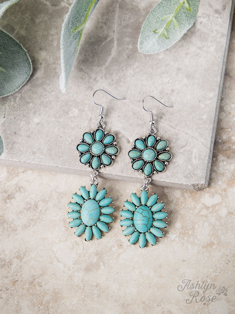 Turquoise Stone Double Drop Earrings, Silver