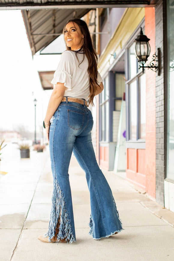 Light Wash Distressed Flare Bell Fringe Jeans Bottoms