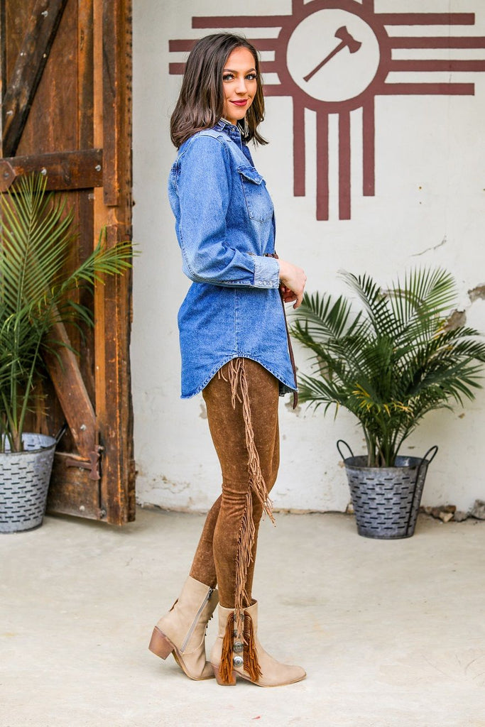 Brown Mineral Wash Fringe Leggings Bottoms