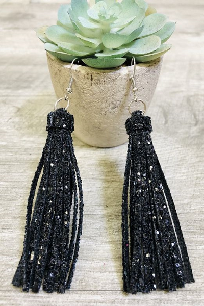 Black Sequin Fringe Earrings