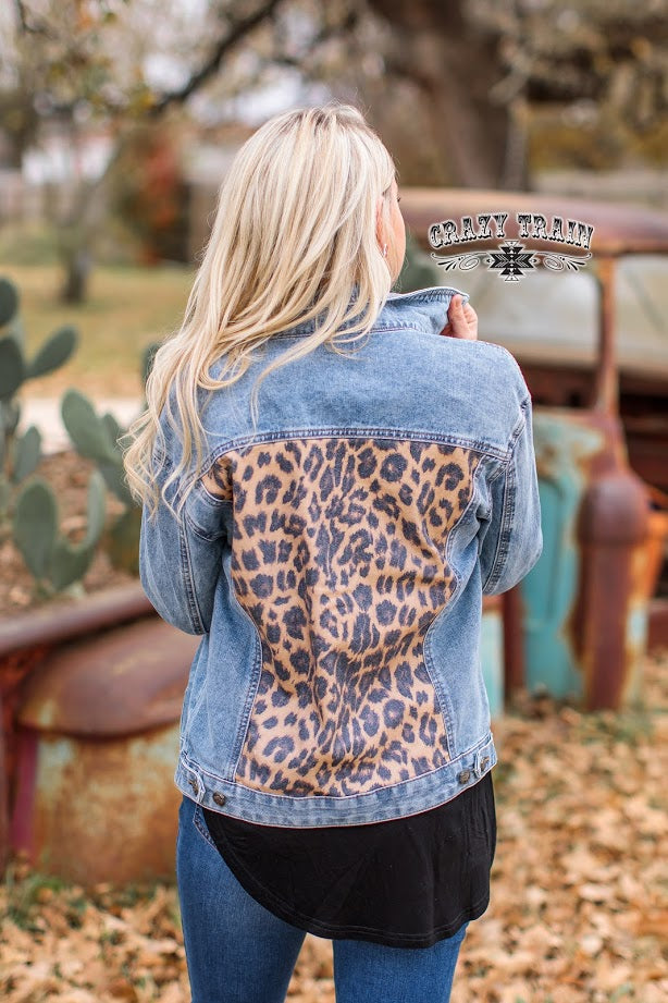 As If Leopard Denim Jacket
