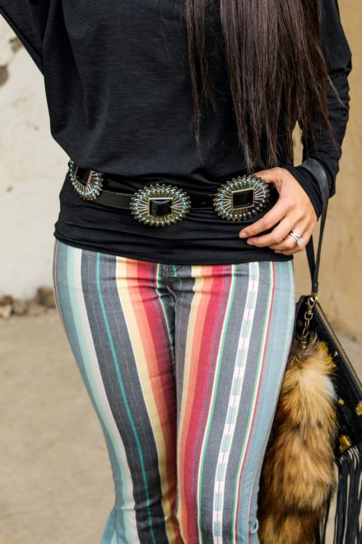Black Silver Concho Turquoise Bead Western Belts