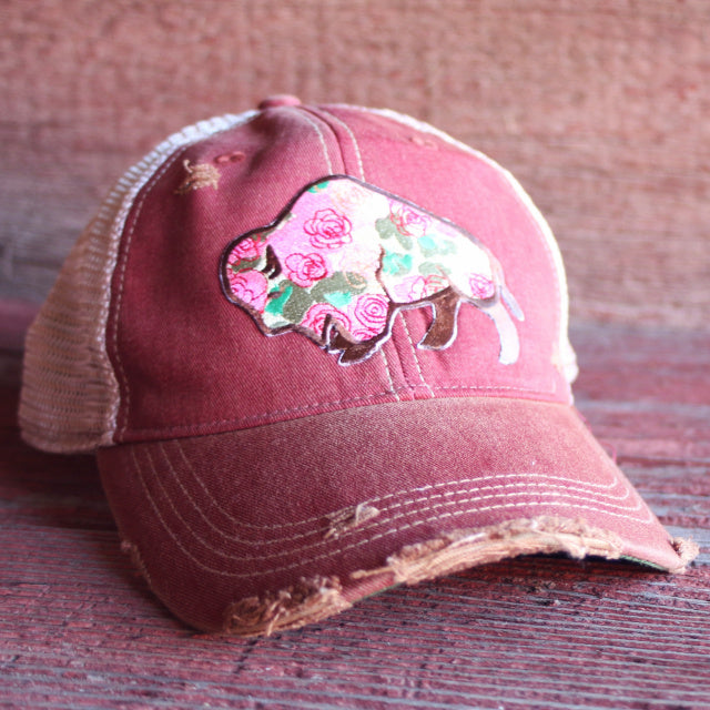 Floral Buffalo Distressed Pink Accessory Caps Hats