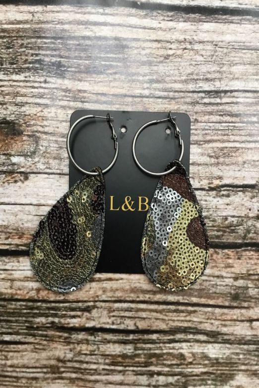 Camo Sequin Jewelry Hoop Earrings