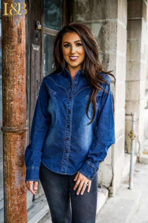 Denim Western Long Sleeve Shirt Top