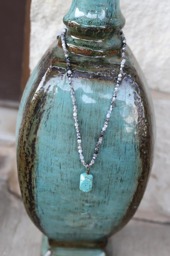 Agate Stone Choker Turquoise Drop Necklace