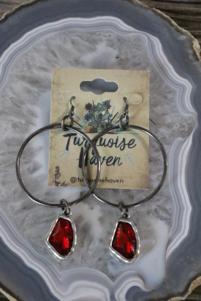 Hammered Silver Red Crystal Earrings
