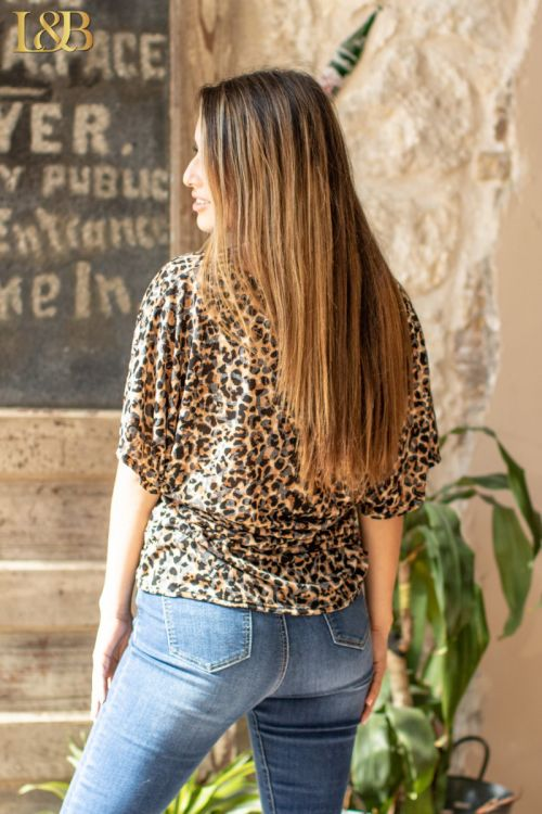 Brown Leopard Plunge Twist Top