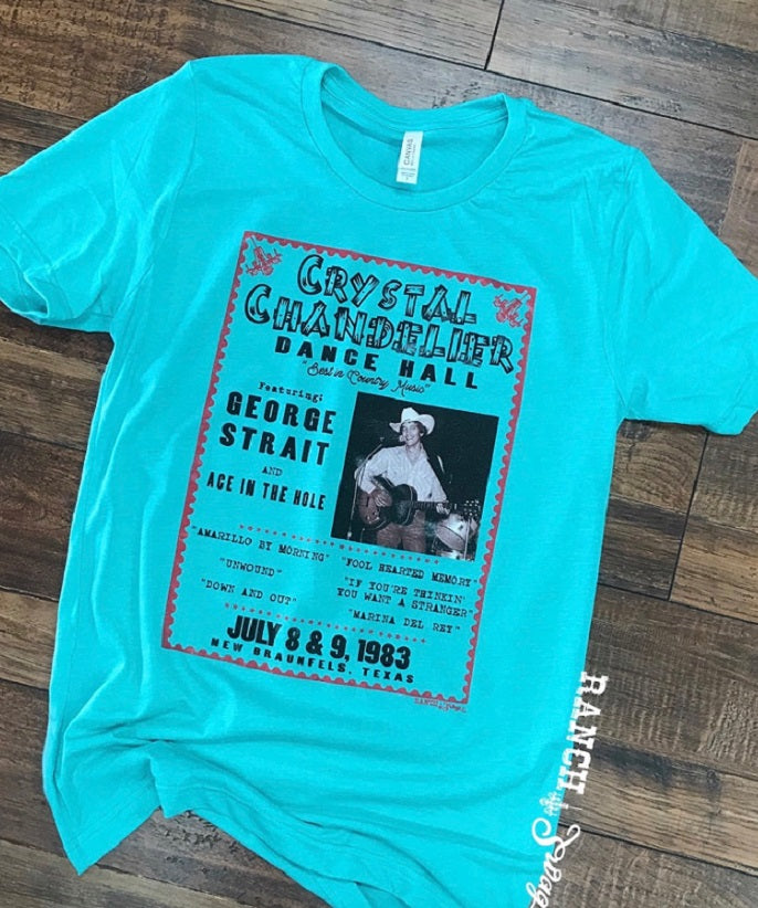 George Strait at the Crystal Chandelier Turquoise Western T-Shirt Top