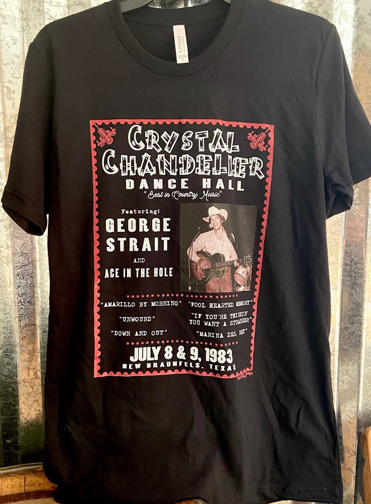New! George Strait at the Crystal Chandalier Shirt Tops-Black