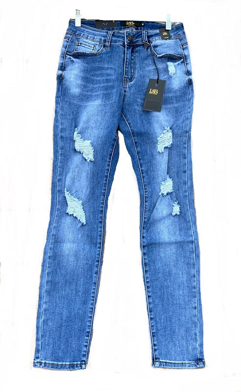 Mid Wash Skinny Super Distressed Jeans