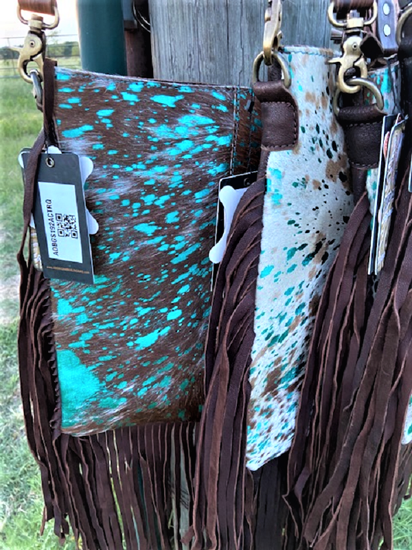 Dakota Turquoise Acid Wash Fringe Western Handbags