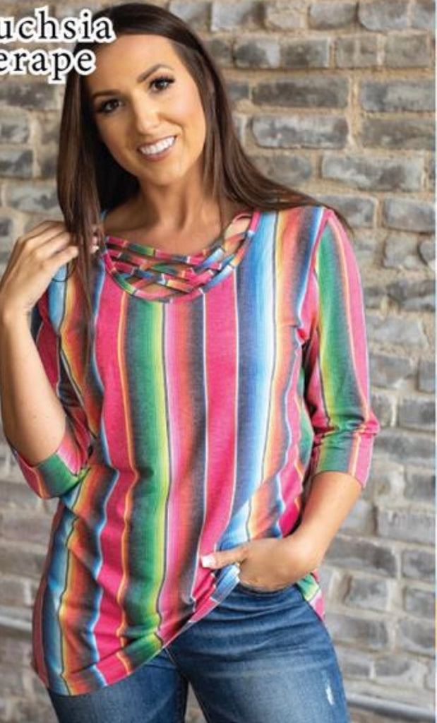 Pink Serape Caged Neck Top