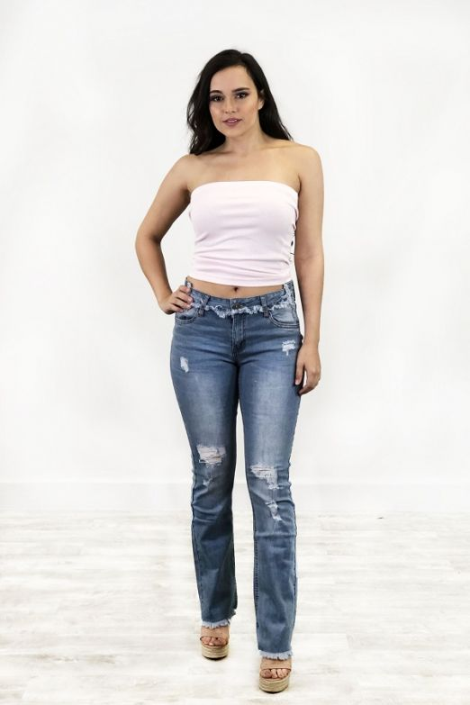 Distressed Fray Hem Boot Cut Jeans