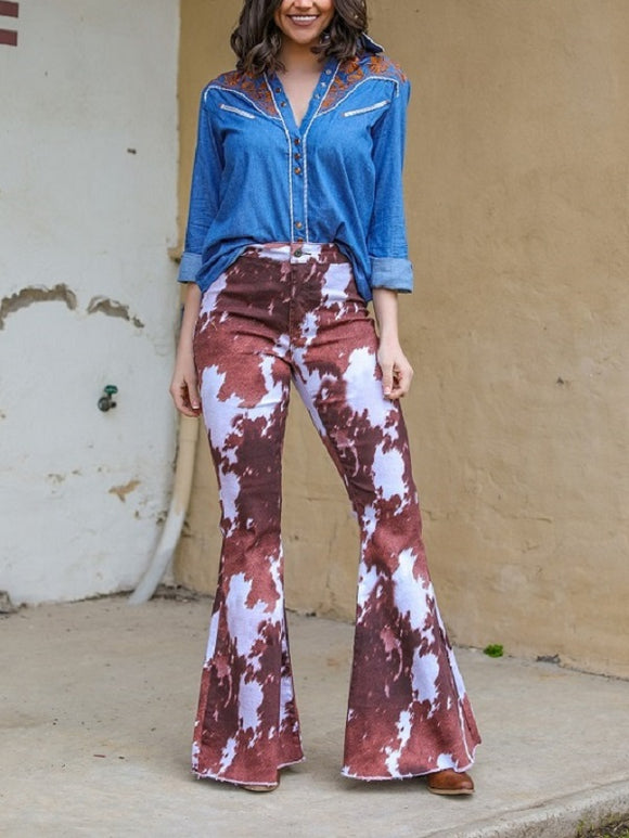 Bell Bottom Cowhide Flare Jeans