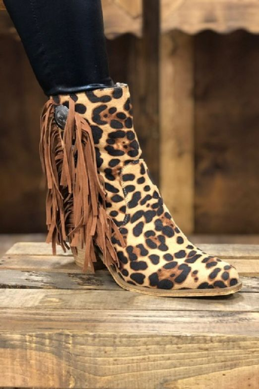 Leopard Fringe Western Booties Boots