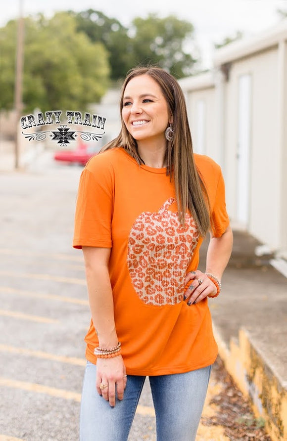 Patch Perfect Pumpkin Sequin Tshirt Top
