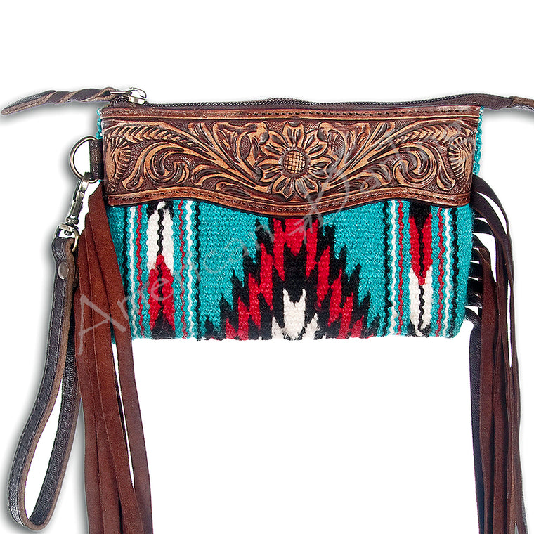 Turquoise Red Aztec Rug Fringe Clutch Handbags